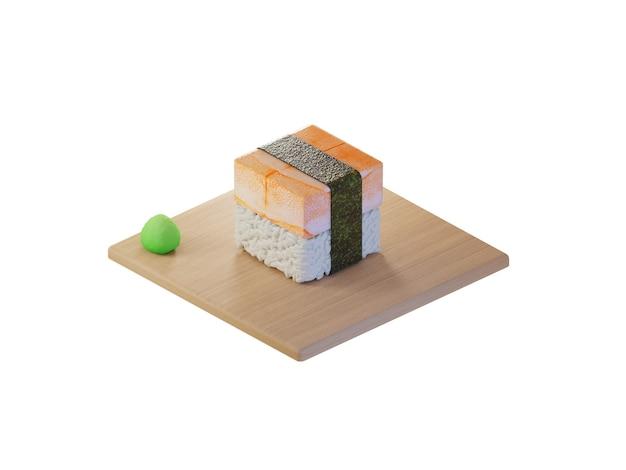3d square shrimp sushi isometric concept