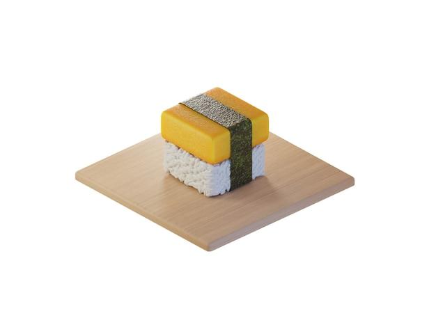 3d square tamako egg sushi isometric concept