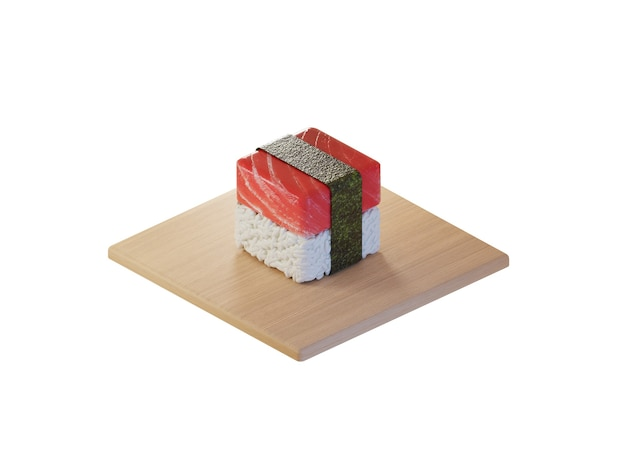 3d square tuna sushi isometric concept