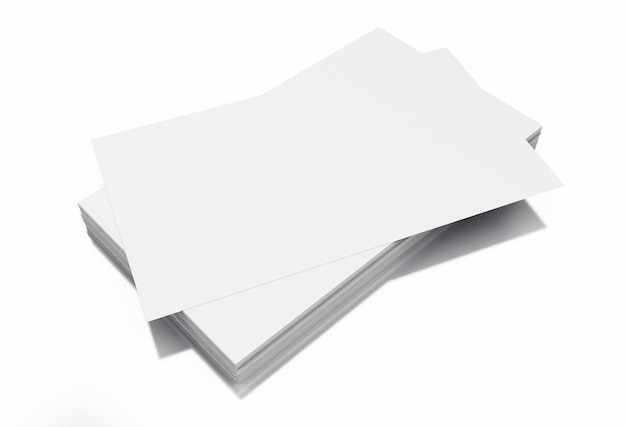 3d stack of blank business cards on white background