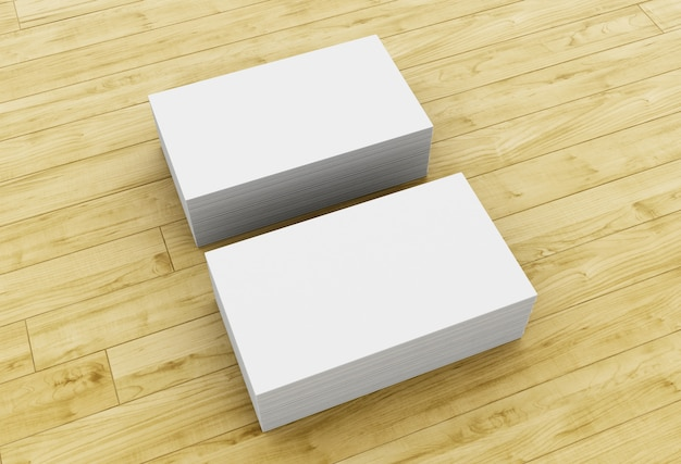 3d stack of blank business cards on wooden table