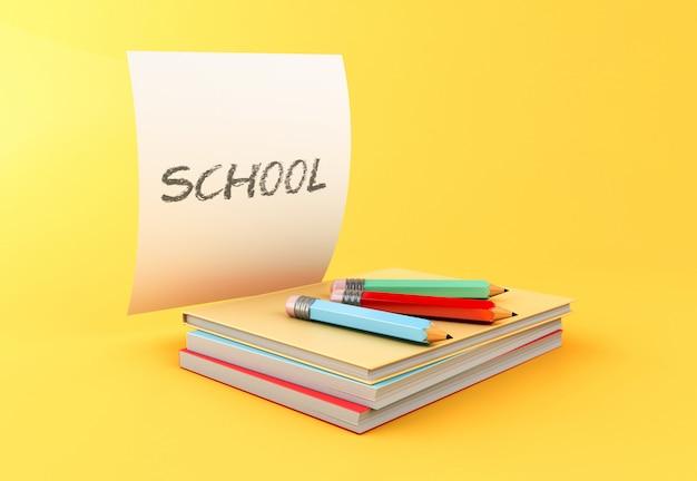 3d стопка красочных книг, карандаши и лист бумаги