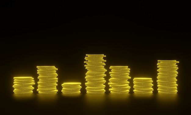 검은 배경에 황금 동전의 3d 스택