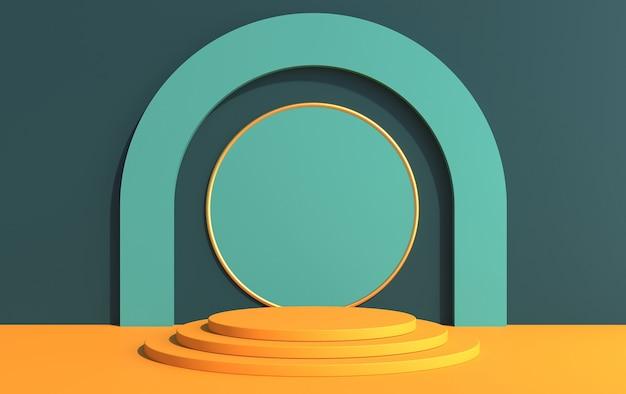 아트 데코 스타일의 제품 시연을위한 둥근 연단이있는 3d 무대, 노란색 녹색 색상, 3d 렌더링