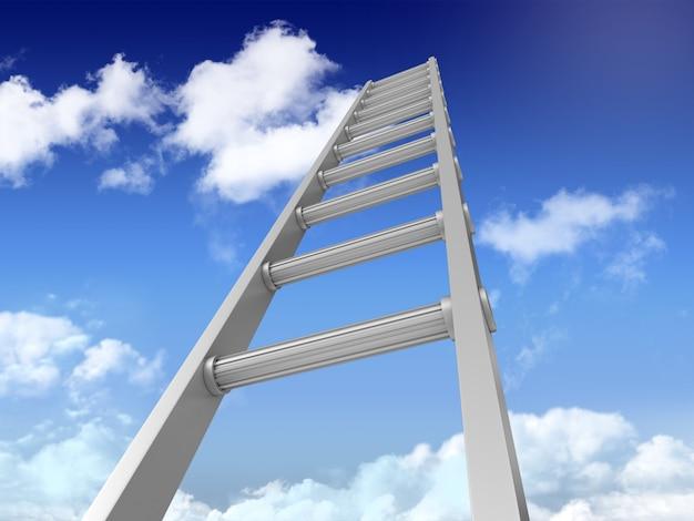 3d лестница на голубом небе Premium Фотографии