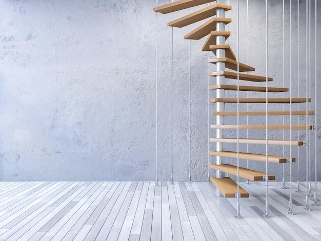 ケーブルで吊るされた3d階段