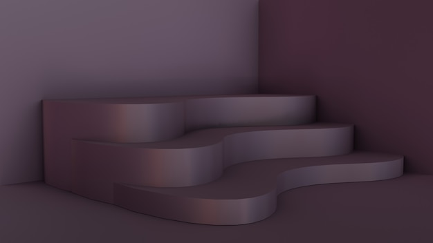 3d лестницы пустая комната с абстрактным стилем