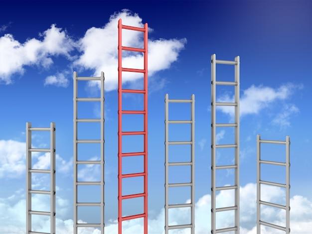 3d лестницы на голубом небе один другой