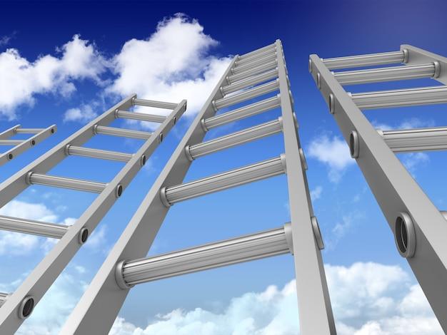 3d лестницы на голубом небе Premium Фотографии