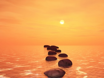 3D stepping stones in an ocean against a sunset sky