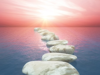Stepping stones vectors photos and psd files free download 3d stepping stones in ocean against sunset sky maxwellsz