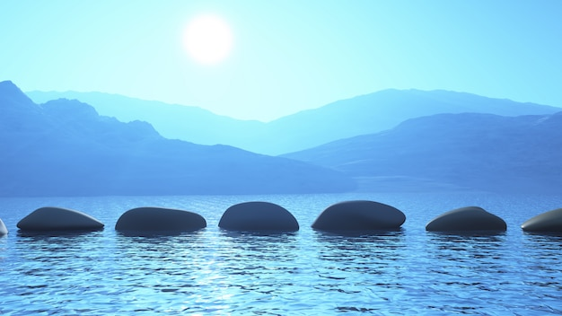 3d stepping stones in the ocean against a mountain landscape