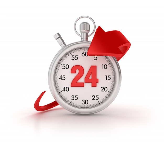 3d stopwatch with arrow and number 24