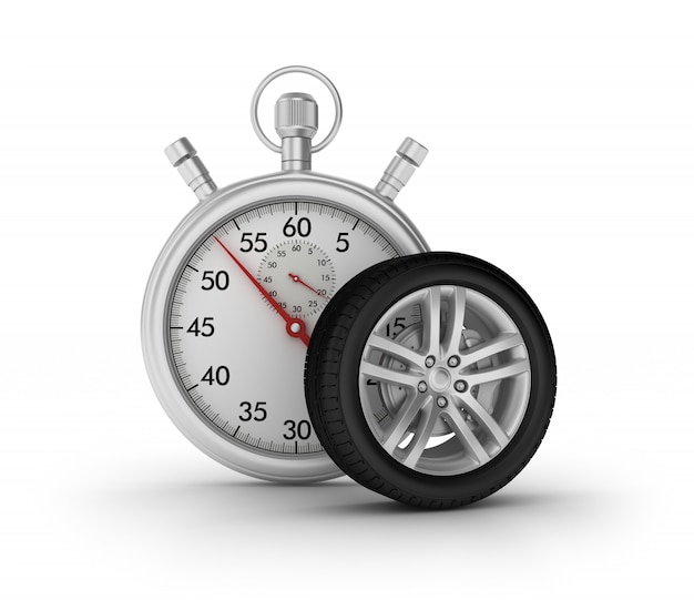 3d stopwatch with car wheel