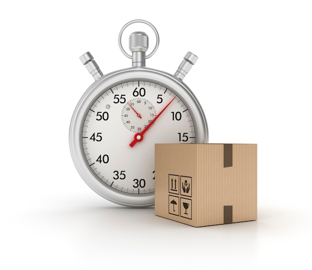 3d stopwatch with cardboard box