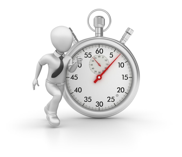 3d stopwatch with cartoon business character running