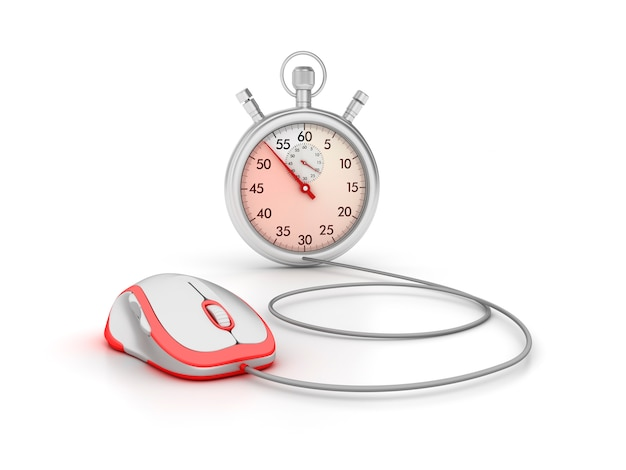 3d stopwatch with computer mouse