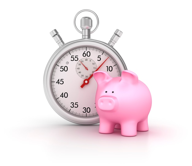 3d stopwatch with piggy bank