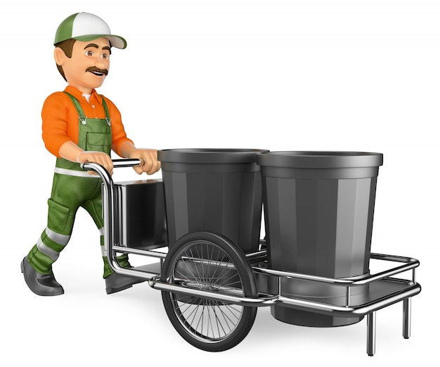 3d street sweeper working with his garbage trolley