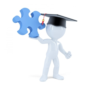 3d student with a piece of puzzle. isolated. contains clipping path.