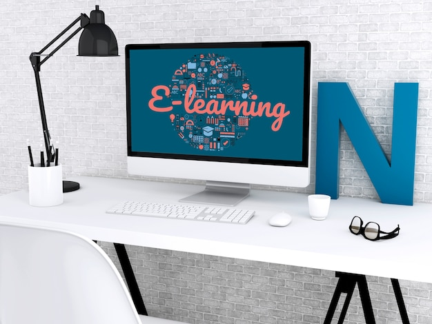3d student workspace with computer