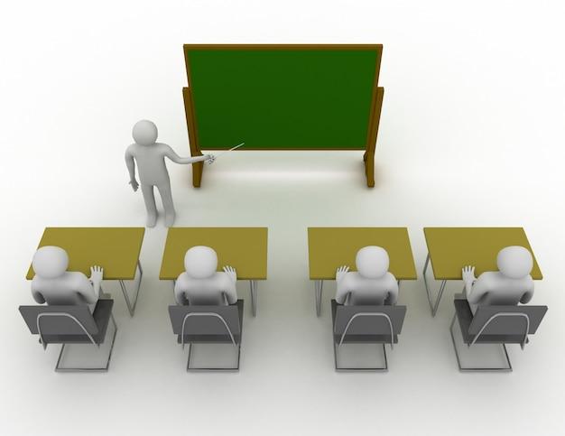 학교 개념에서 3d 학생입니다. 3d 렌더링 된 그림