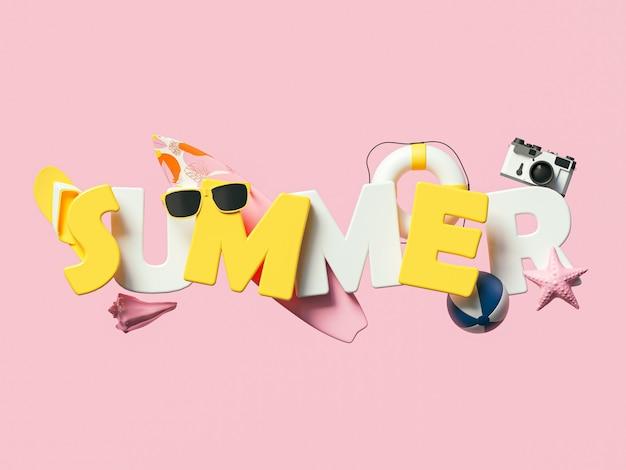 熱帯のビーチの要素を持つ3d夏のテキストバナーデザイン。夏休みのコンセプト。