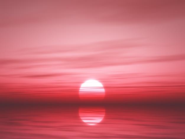 3d sunset ocean