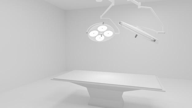 3d: операционная с двумя освещенными медицинскими лампами и пустой кроватью. 3d рендеринг.