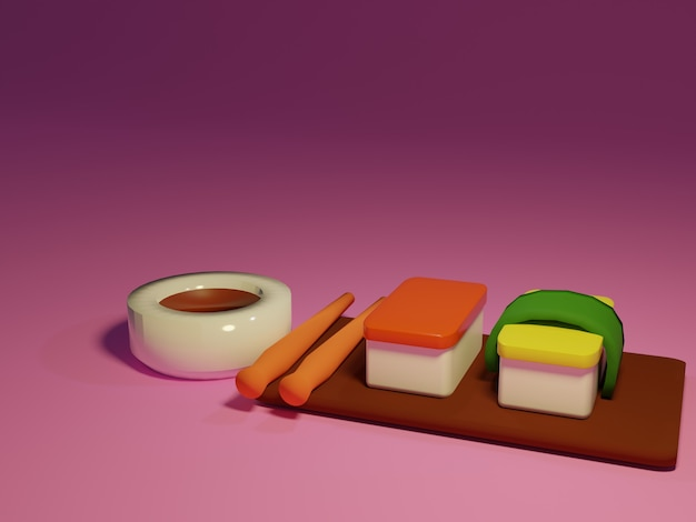 3d суши и палочки для еды в розовом фоне