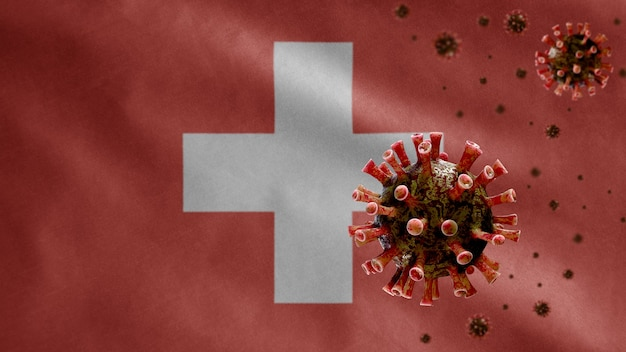 3d、スイスの旗が危険なインフルエンザとして呼吸器系に感染しているコロナウイルスの発生で手を振っています。全国的なスイスのテンプレートを吹く背景を持つインフルエンザタイプのcovid19ウイルス。