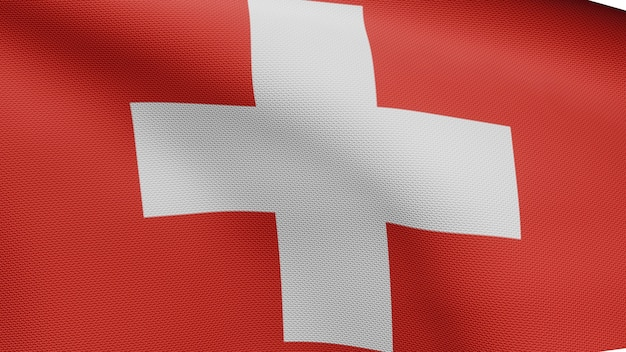 3d, switzerland flag wavingon wind. close up of swiss banner blowing, soft and smooth silk. cloth fabric texture ensign background.