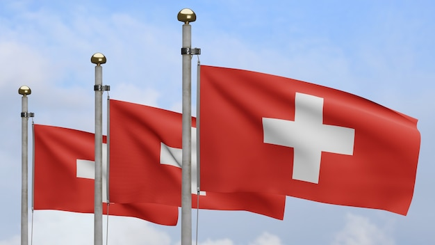 3d、スイスの旗は青い空と雲で風を振っています。スイスのバナーを吹く、柔らかく滑らかなシルクのクローズアップ。布生地のテクスチャは、背景をエンサインします。