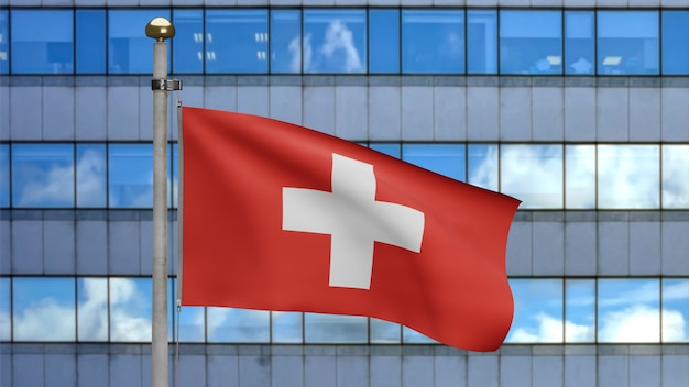 3d, switzerland flag wavingon wind with modern skyscraper city. close up of swiss banner blowing, soft and smooth silk. cloth fabric texture ensign background.