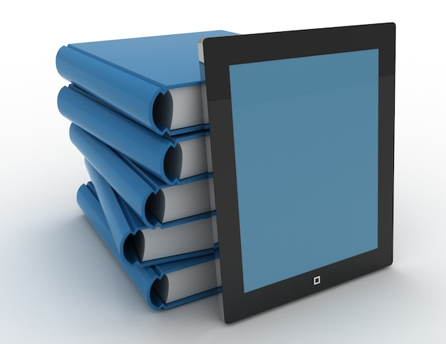 3d tablet and books, digital and paper library concept on whit background