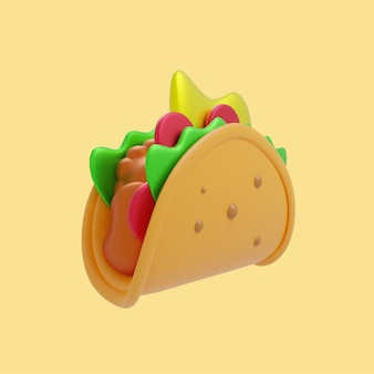 3d 타코 멕시코 음식 만화 아이콘 그림입니다. 3d 음식 개체 아이콘 개념 절연 프리미엄 디자인입니다. 플랫 만화 스타일