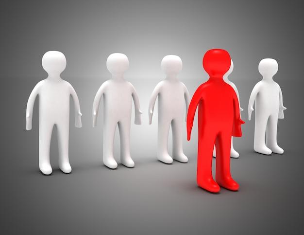 3d team leader concept. 3d illustration