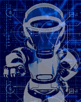 3d technology background with robot design