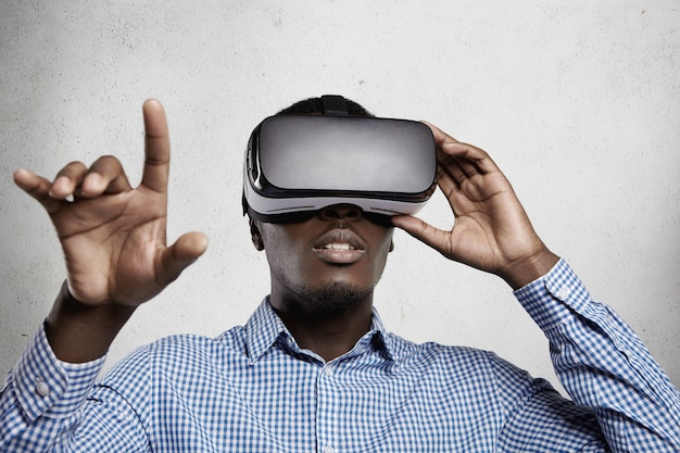 3d technology, virtual reality and entertainment concept.