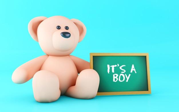 3d teddy bear and boy text.