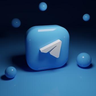 3d telegram logo application