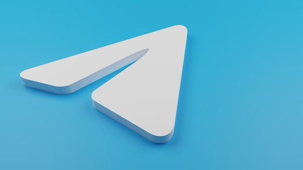 3d телеграмма логотип значок фон копией пространства