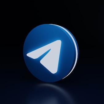 3d значок логотипа телеграммы светится высоким качеством рендеринга