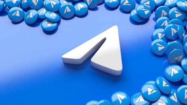 3d логотип telegram на синем фоне в окружении множества глянцевых таблеток telegram