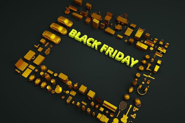 3d text black friday on a black background. yellow text black friday. isometric advertising banner. lot of things and products around. marketing and advertising, poster