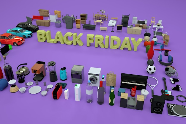 3d text black friday on a light background. isometric three-dimensional beige text, advertising. lot of things and products around. 3d advertising banner, top view