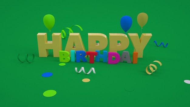3d text happy birthday. convex letters on the background. colorful graphics. isolated colorful text happy birthday on green background
