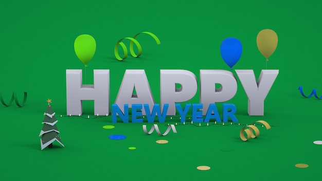 3d text happy new year. christmas picture, convex text on the background. close up. isolated colorful text happy new year on green background.