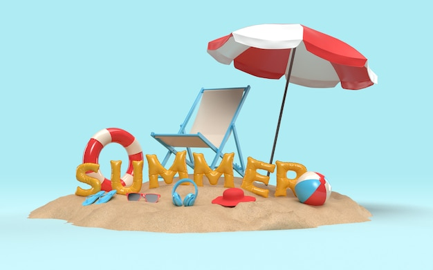 3d text summer on beach island with beach umbrella, sun glass, flip-flops, ball, ring floating and chair . design of summer vacation holiday concept. 3d rendering