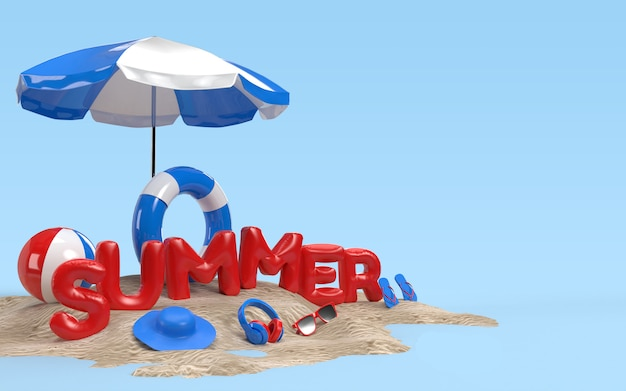 3d text summer on beach island with beach umbrella, sun glass, flip-flops, ball, ring floating . design of summer vacation holiday concept. 3d rendering